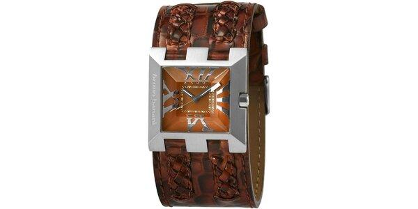 Dámské hnědé hodinky s copánkovými detaily Bruno Banani