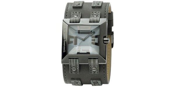 Pánské kovově šedé hranaté hodinky Bruno Banani