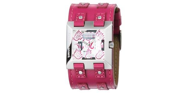 Dámské stříbrné hodinky s růžovým řemínkem Bruno Banani