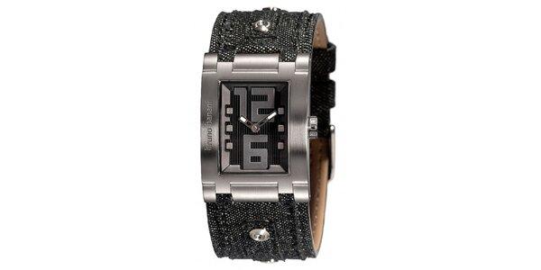 Dámské stříbrné hodinky s džínovým řemínkem Bruno Banani