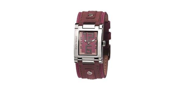 Dámské stříbrné hodinky s růžovým ciferníkem Bruno Banani