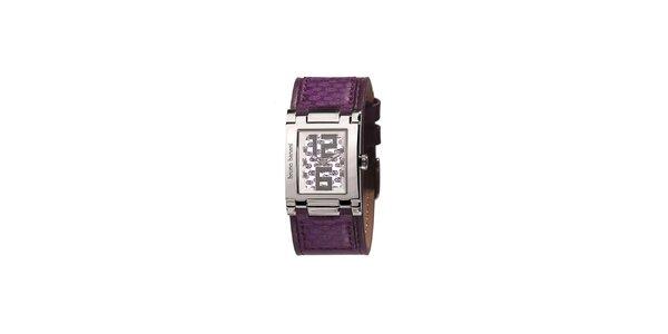 Dámské stříbrné hodinky s fialovým řemínkem Bruno Banani