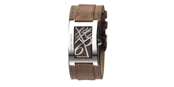 Dámské stříbrné hodinky s koženým řemínkem Bruno Banani