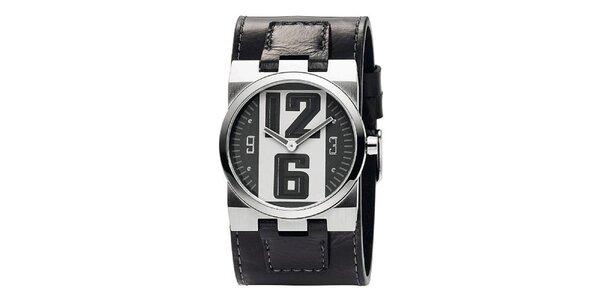 Pánské tmavošedé analogové hodinky s koženým páskem Bruno Banani