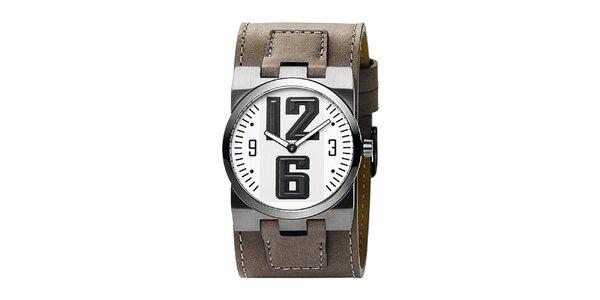 Pánské hnědé analogové hodinky s bílým ciferníkem Bruno Banani