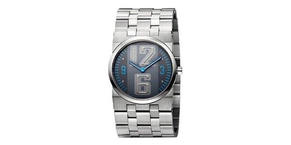 Pánské stříbrné hodinky s modrými detaily Bruno Banani
