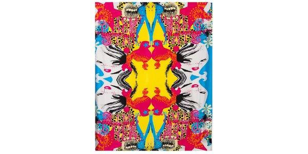 Dámský pestrobarevný hedvábný šátek Custo Barcelona s potiskem