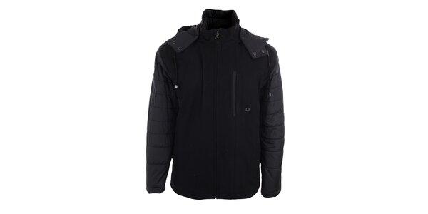 Pánská černá bunda s kapucí Pietro Filipi