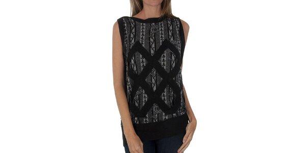 Dámská černo-šedá pletená vesta Custo Barcelona