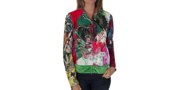 Dámský pestrobarevný kabátek Custo Barcelona s potiskem