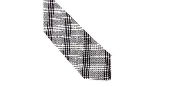 Pánská šedo-černá kostkovaná hedvábná kravata Pietro Filipi