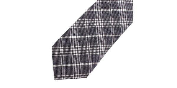 Pánská šedo-bílá kostkovaná hedvábná kravata Pietro Filipi