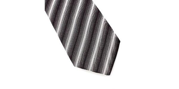 Pánská šedo-bílá proužkovaná hedvábná kravata Pietro Filipi