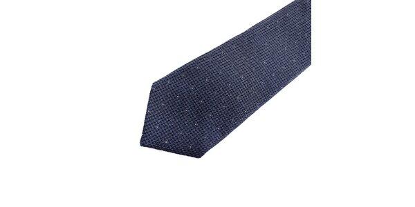 Pánská modrá hedvábná kravata s puntíkem Pietro Filipi