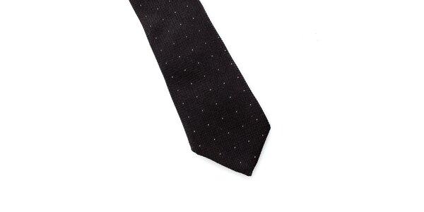 Pánská černá hedvábná kravata s puntíkem Pietro Filipi