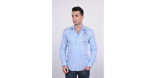 Pánská světle modrá košile Giorgio di Mare s modrým potiskem