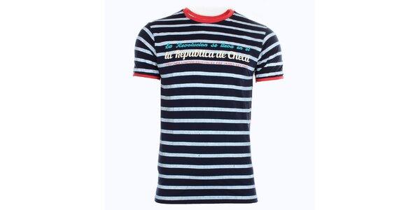 Pánské bílo-modře pruhované tričko Exe Jeans