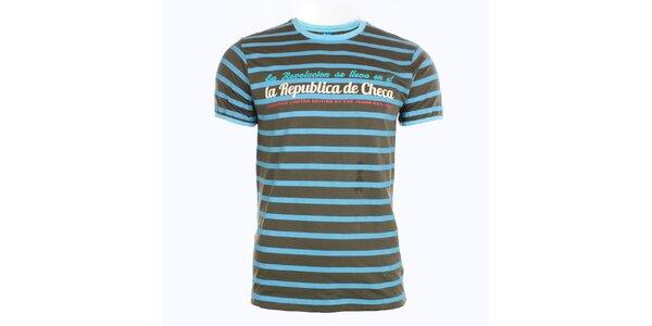 Pánské modro-hnědě pruhované tričko Exe Jeans
