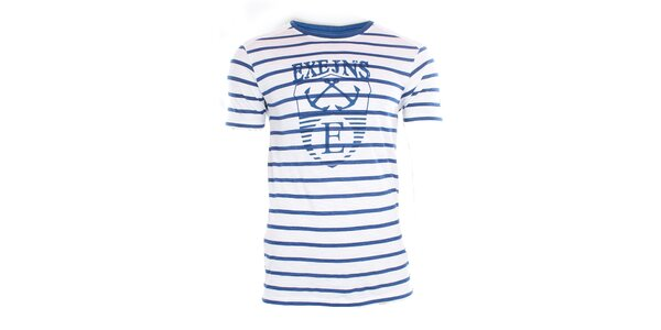 Pánské bílo-modré pruhované tričko Exe Jeans
