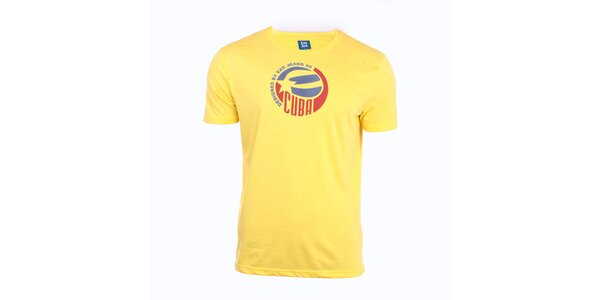 Pánské žluté tričko s potiskem Exe Jeans