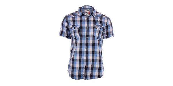 Pánská modře kostkovaná košile Exe Jeans bfec7fd3f7