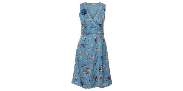 Dámské světle modré květinové šaty Uttam Boutique s motýly