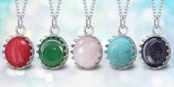 Ocelové náhrdelníky Gemstone s přírodními kameny