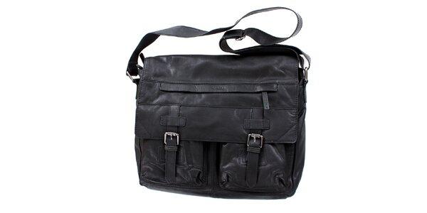 Dámská černá taška s ramenním popruhem a přezkami Levis