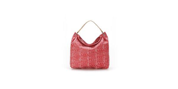 Dámská červená kabelka s béžovým uchem a nápisy Abbacino