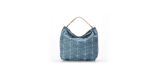 Dámská modrá kabelka s béžovým uchem a nápisy Abbacino
