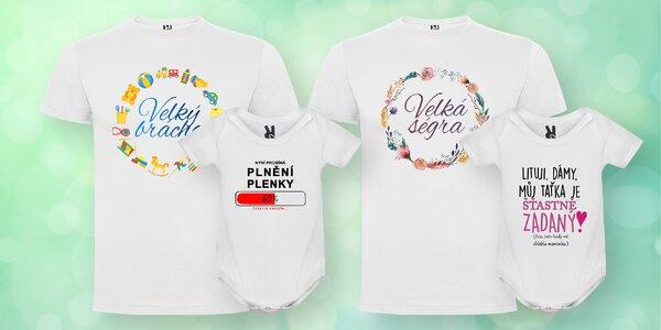 Bavlněná dětská body a trička s vtipnými nápisy