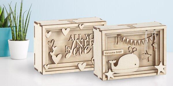Dřevěná 3D stavebnice: dárková krabička či pokladnička