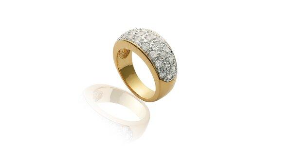 Dámský pozlacený prstýnek s třpytivými kamínky La Mimossa