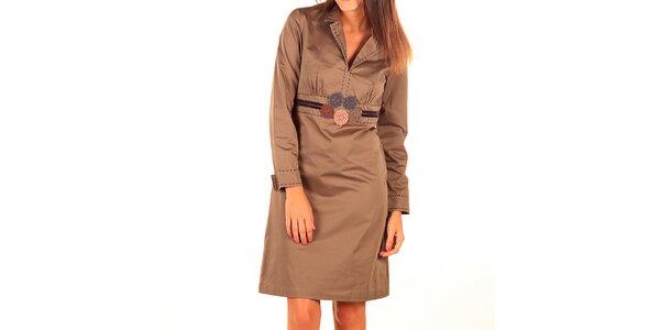 Dámské světle hnědé šaty s výšivkou Tonala