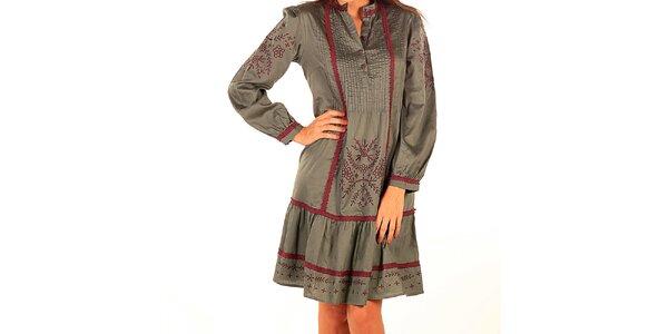 Dámské zelené vyšívané šaty Tonala