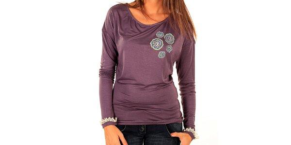 Dámské fialové tričko s barevnou aplikací Tonala