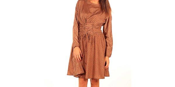 Dámské karamelově hnědé šaty s puntíky Tonala