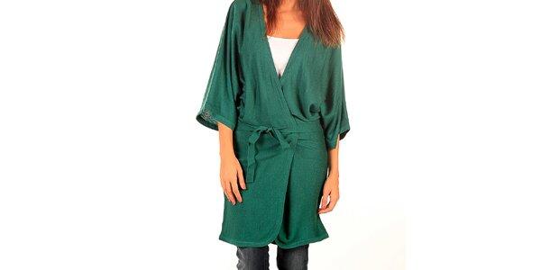 Dámský dlouhý zelený svetr s páskem Tonala