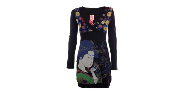Dámské černé šaty s japonským motivem DY Dislay Design