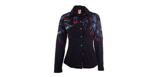 Dámská černá košile s abstraktním zdobením DY Dislay Design