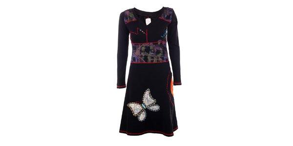 Dámské černé šaty s motýlem DY Dislay Design