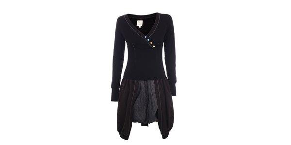 Dámské černé šaty s knoflíčky DY Dislay Design