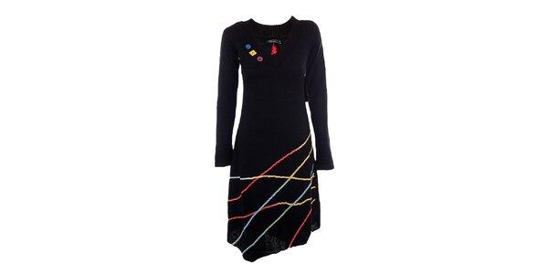 Dámské černé šaty s barevnými proužky DY Dislay Design