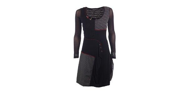 Dámské černé šaty s transparentními rukávy DY Dislay Design