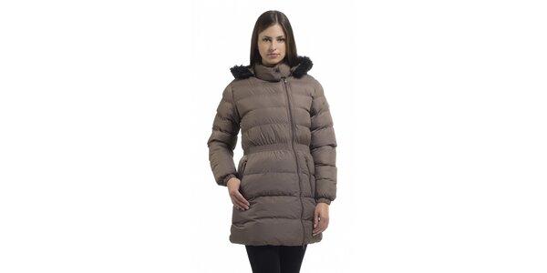 Dámská světle hnědá péřová bunda Bleifrei s kožíškem a asymetrickým zipem