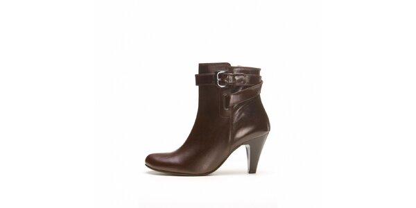 Dámské tmavě hnědé kotníčkové boty Belmondo na vysokém podpatku