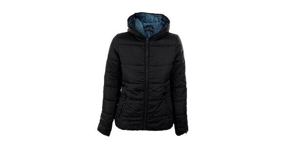 Dámská černá bunda Sisley s tyrkysovou podšívkou