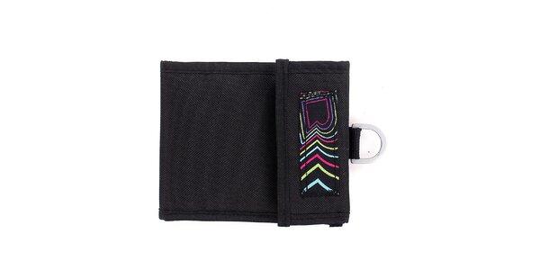 Černá peněženka s barevnými logy Fundango