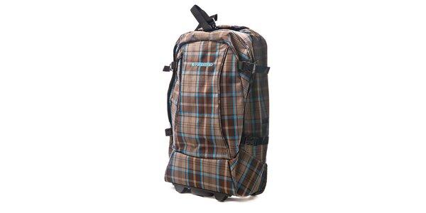 Hnědá kostkovaná taška na kolečkách Fundango