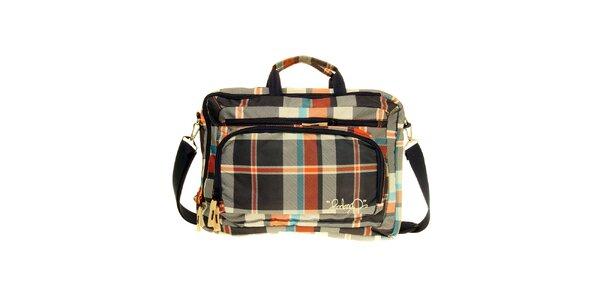 Modro-oranžová kostkovaná taška na notebook Fundango